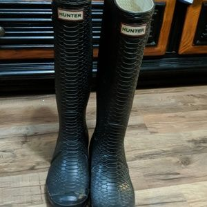 Snakeskin Hunter boots